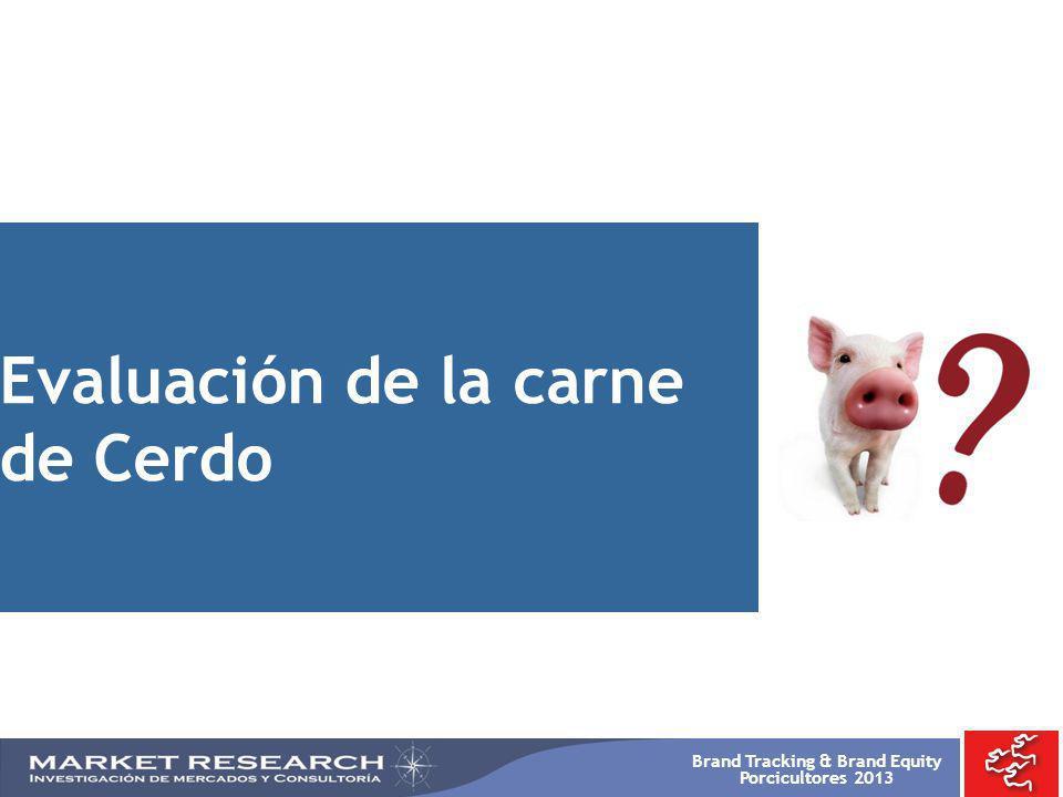 Brand Tracking & Brand Equity Porcicultores 2013 Evaluación de la carne de Cerdo