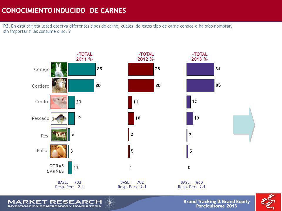 Brand Tracking & Brand Equity Porcicultores 2013 Res Pollo Cerdo Pescado Conejo Cordero BASE: 702 Resp. Pers 2.1 CONOCIMIENTO INDUCIDO DE CARNES P2. E