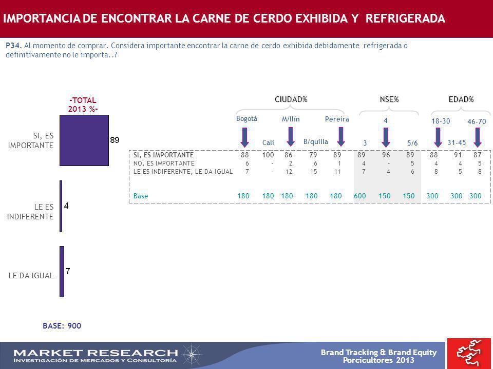 Brand Tracking & Brand Equity Porcicultores 2013 -TOTAL 2013 %- SI, ES IMPORTANTE Bogotá SI, ES IMPORTANTE88100867989899689889187 NO, ES IMPORTANTE6-2