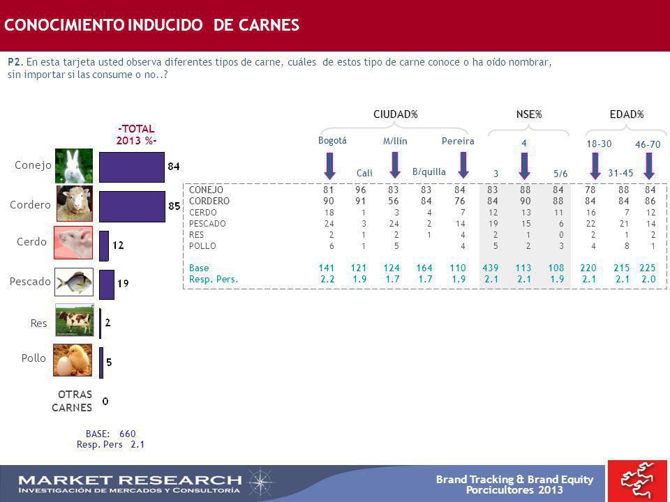 Brand Tracking & Brand Equity Porcicultores 2013 Res Pollo Cerdo Pescado Conejo Cordero BASE: 660 Resp. Pers 2.1 CONOCIMIENTO INDUCIDO DE CARNES P2. E