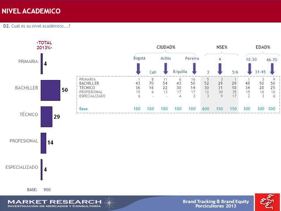 Brand Tracking & Brand Equity Porcicultores 2013 NIVEL ACADEMICO Bogotá PRIMARIA1811616531139 BACHILLER4370544350522929485050 TÉCNICO36162230143031183