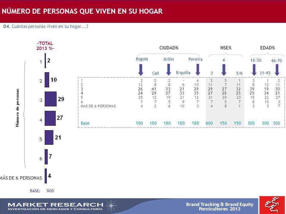 Brand Tracking & Brand Equity Porcicultores 2013 NÚMERO DE PERSONAS QUE VIVEN EN SU HOGAR Bogotá 1222-4251312 212886101171181211 326413321292927323919