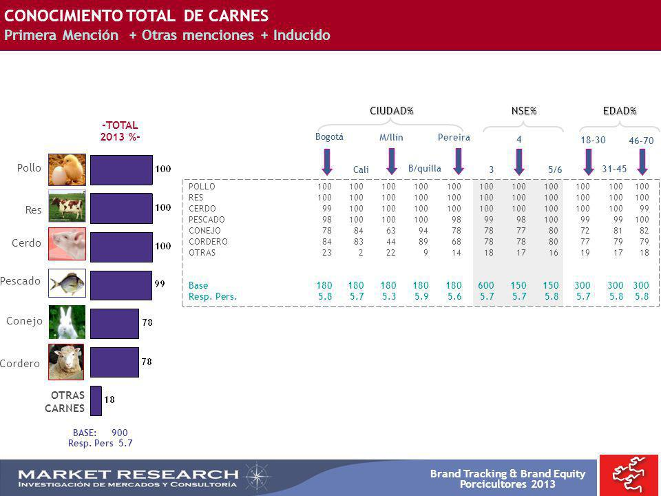 Brand Tracking & Brand Equity Porcicultores 2013 Bogotá POLLO100100100100100100100100100100100 RES100100100100100100100100100100100 CERDO9910010010010