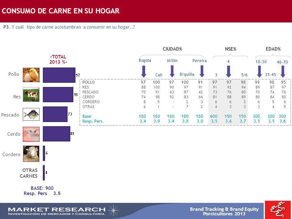 Brand Tracking & Brand Equity Porcicultores 2013 Res Pollo Cerdo Pescado Cordero BASE: 900 Resp. Pers 3.5 CONSUMO DE CARNE EN SU HOGAR P3. Y cuál tipo