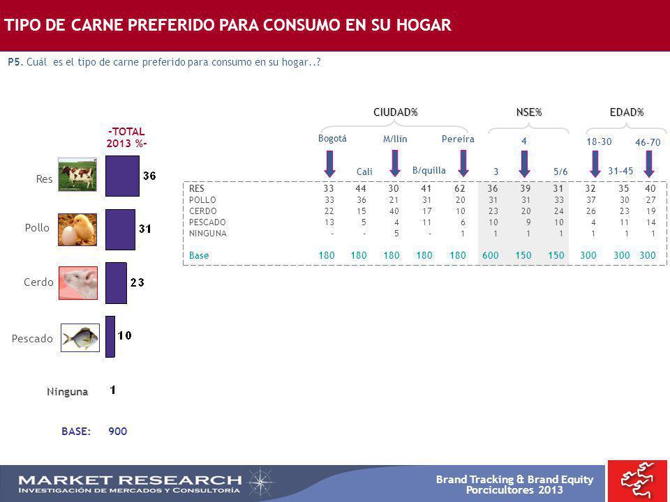 Brand Tracking & Brand Equity Porcicultores 2013 BASE: 900 -TOTAL 2013 %- Bogotá RES3344304162363931323540 POLLO3336213120313133373027 CERDO2215401710