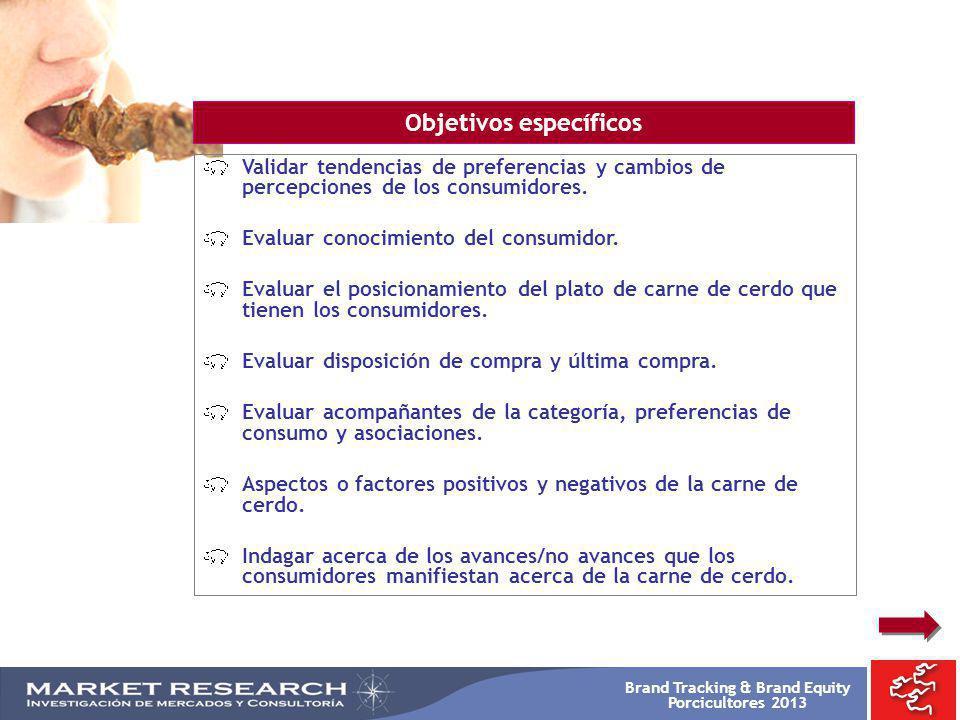 Brand Tracking & Brand Equity Porcicultores 2013 Validar tendencias de preferencias y cambios de percepciones de los consumidores. Evaluar conocimient