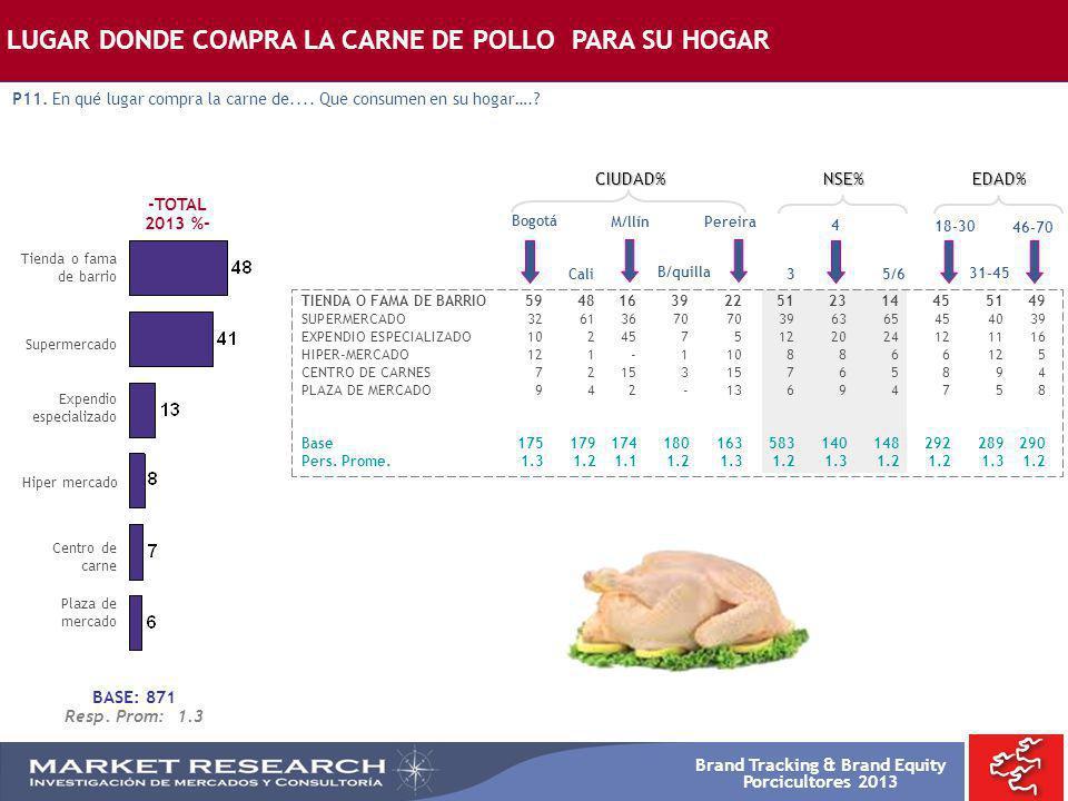 Brand Tracking & Brand Equity Porcicultores 2013 -TOTAL 2013 %- Supermercado Bogotá TIENDA O FAMA DE BARRIO5948163922512314455149 SUPERMERCADO32613670