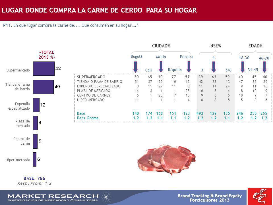 Brand Tracking & Brand Equity Porcicultores 2013 -TOTAL 2013 %- Supermercado Bogotá SUPERMERCADO3065307757396359404540 TIENDA O FAMA DE BARRIO51372910