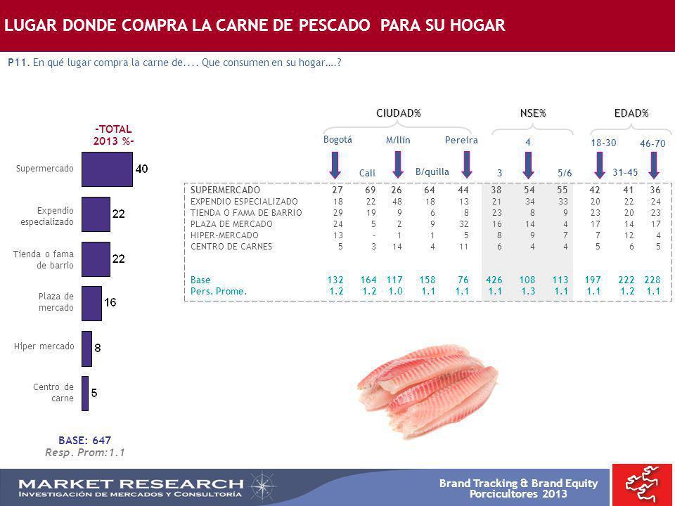 Brand Tracking & Brand Equity Porcicultores 2013 -TOTAL 2013 %- Supermercado Bogotá SUPERMERCADO2769266444385455424136 EXPENDIO ESPECIALIZADO 18224818