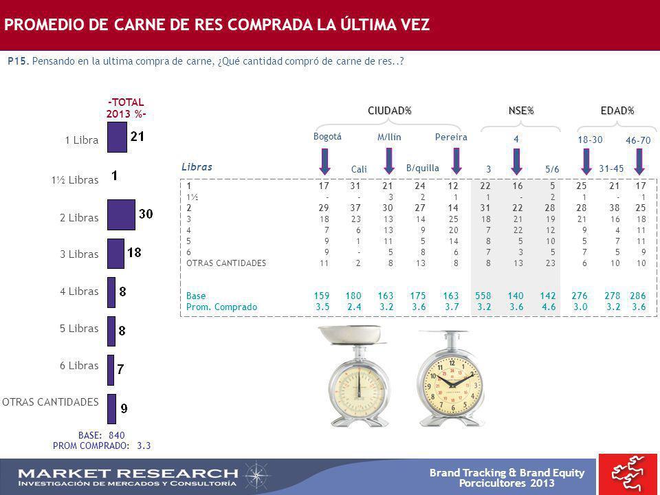 Brand Tracking & Brand Equity Porcicultores 2013 Bogotá 1173121241222165252117 1½ --3211-21-1 22937302714312228283825 31823131425182119211618 47613920