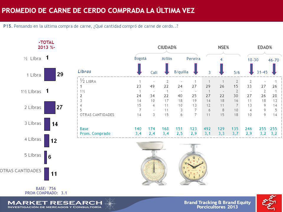 Brand Tracking & Brand Equity Porcicultores 2013 Bogotá ½ LIBRA1-2-11122-1 12349222427292615332726 1½1-1--1-2-21 22434224025272230272628 3141017181914