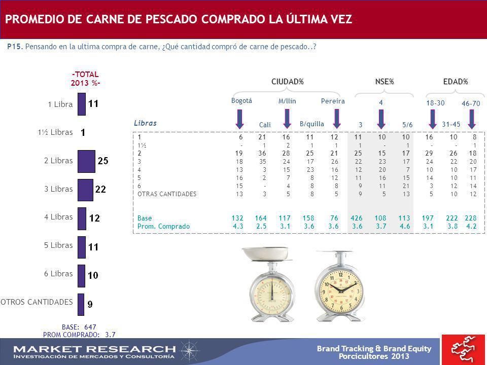 Brand Tracking & Brand Equity Porcicultores 2013 Bogotá 162116111211101016108 1½ -12111-1--1 21936282521251517292618 31835241726222317242220 413315231