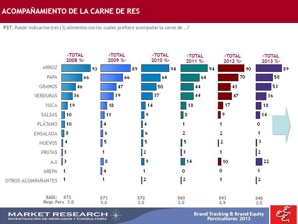 Brand Tracking & Brand Equity Porcicultores 2013 -TOTAL 2008 %- -TOTAL 2009 %- ARROZ PAPA GRANOS VERDURAS YUCA SALSAS PLÁTANO ENSALADA HUEVOS FRUTAS A