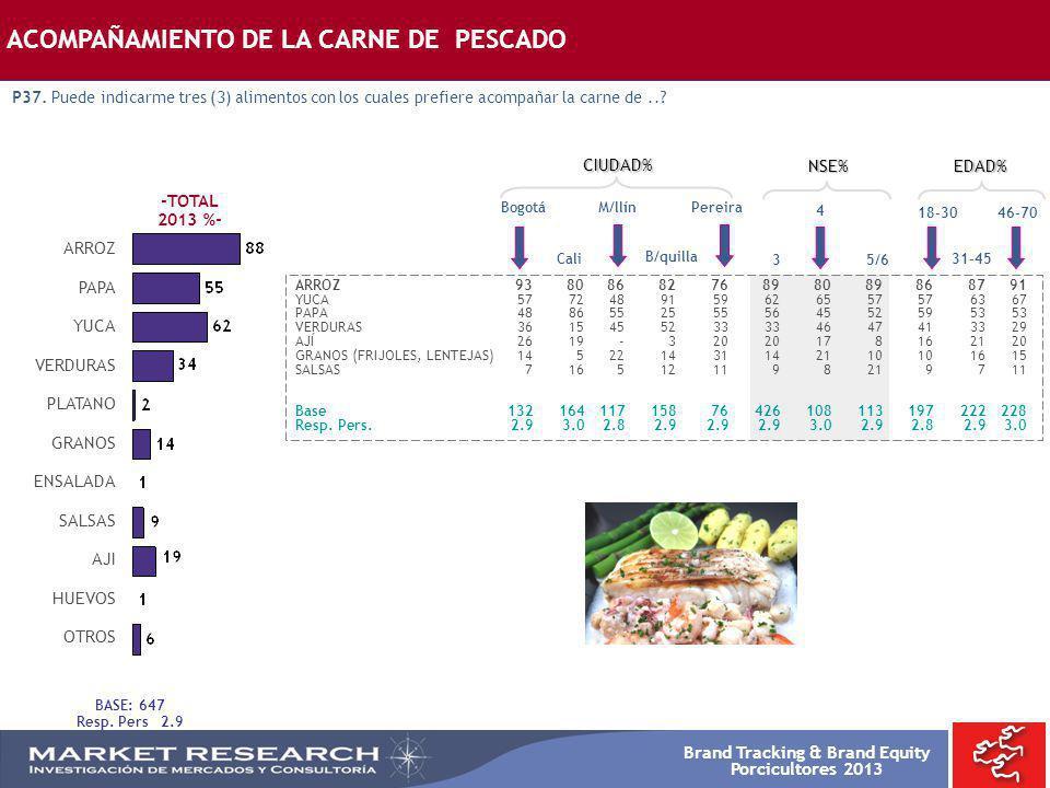 Brand Tracking & Brand Equity Porcicultores 2013 Bogotá ARROZ9380868276898089868791 YUCA5772489159626557576367 PAPA4886552555564552595353 VERDURAS3615