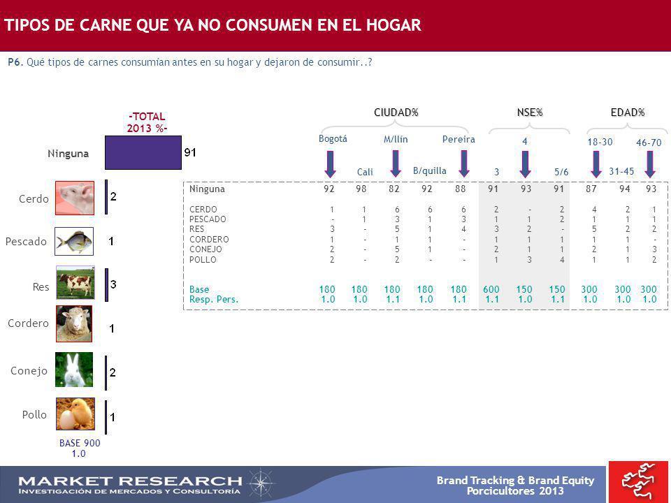 Brand Tracking & Brand Equity Porcicultores 2013 -TOTAL 2013 %- BASE 900 1.0 Cerdo Ninguna Res Pescado Conejo Cordero Pollo Bogotá Ninguna929882928891