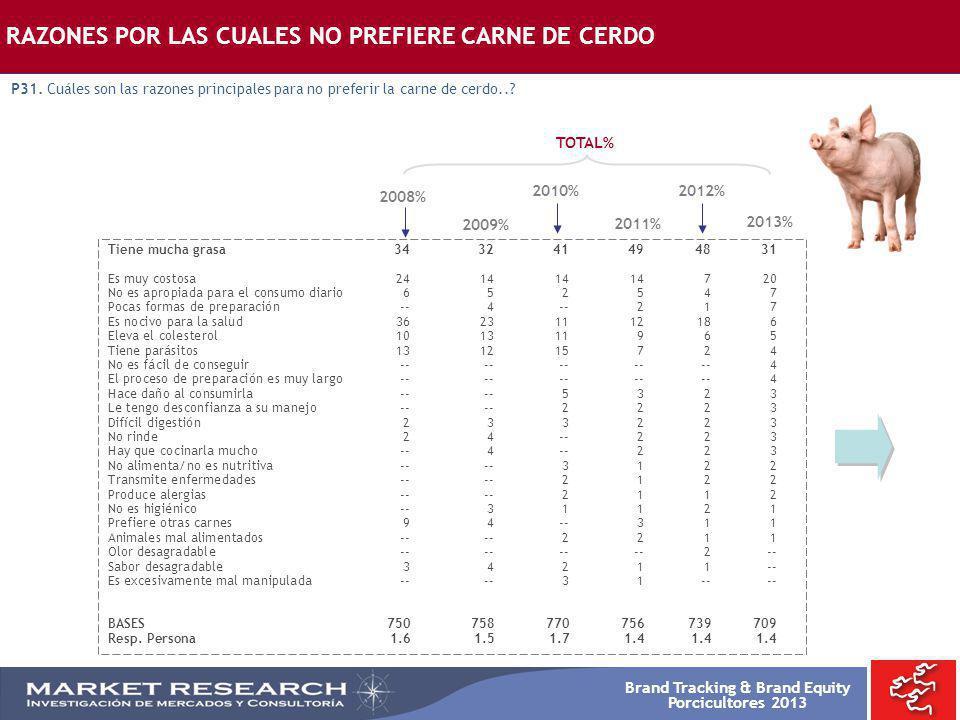 Brand Tracking & Brand Equity Porcicultores 2013 RAZONES POR LAS CUALES NO PREFIERE CARNE DE CERDO P31. Cuáles son las razones principales para no pre