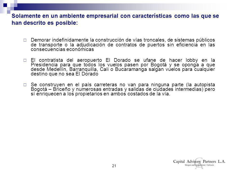 21 Solamente en un ambiente empresarial con características como las que se han descrito es posible: Demorar indefinidamente la construcción de vías troncales, de sistemas públicos de transporte o la adjudicación de contratos de puertos sin eficiencia en las consecuencias económicas El contratista del aeropuerto El Dorado se ufane de hacer lobby en la Presidencia para que todos los vuelos pasen por Bogotá y se oponga a que desde Medellín, Barranquilla, Cali o Bucaramanga salgan vuelos para cualquier destino que no sea El Dorado Se construyen en el país carreteras no van para ninguna parte (la autopista Bogotá – Briceño y numerosas entradas y salidas de ciudades intermedias) pero sí enriquecen a los propietarios en ambos costados de la vía.