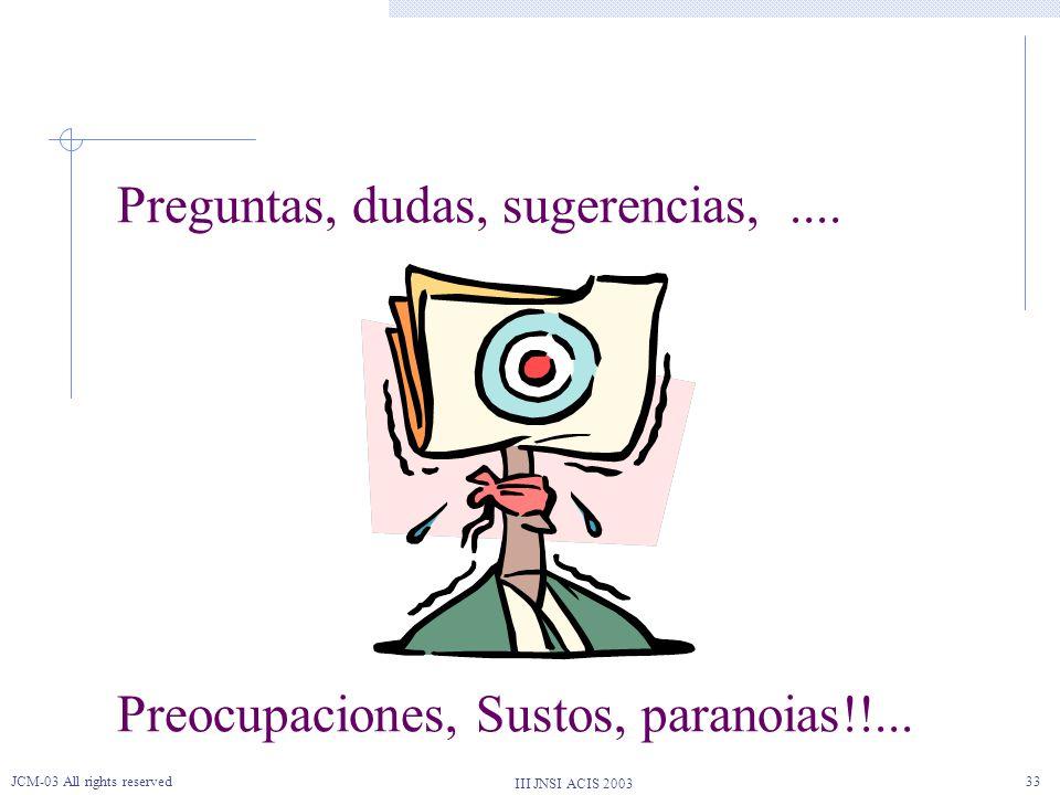 III JNSI ACIS 2003 JCM-03 All rights reserved33 Preguntas, dudas, sugerencias,.... Preocupaciones, Sustos, paranoias!!...