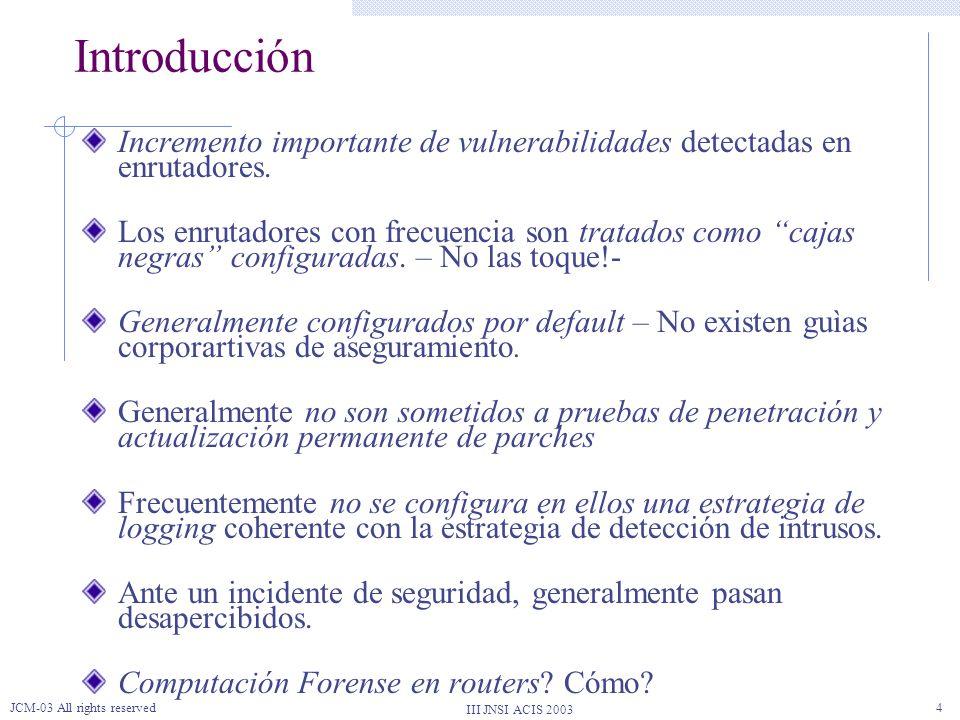 III JNSI ACIS 2003 JCM-03 All rights reserved35 RE.D.AR REGISTRO DETECCIÓN INTRUSOS AUDITORÍA SINCRONIZACIÓN CORRELACIÓN ASEGURAMIENTO AFINAMIENTO SIMULACIÓN Y PRUEBAS CONTROL DE EVIDENCIA