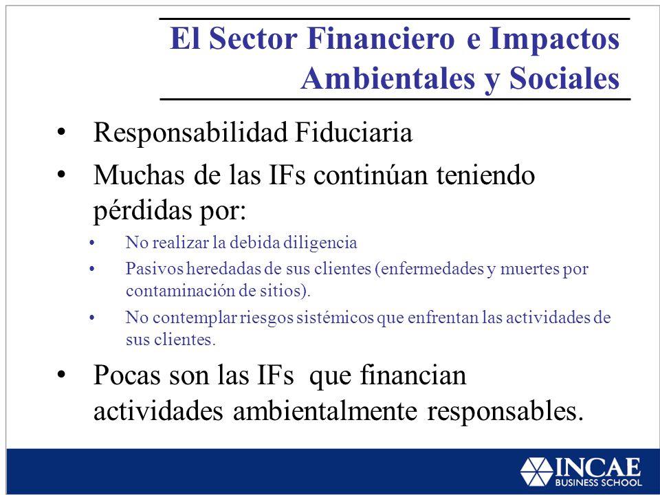 Responsabilidad Fiduciaria Muchas de las IFs continúan teniendo pérdidas por: No realizar la debida diligencia Pasivos heredadas de sus clientes (enfermedades y muertes por contaminación de sitios).