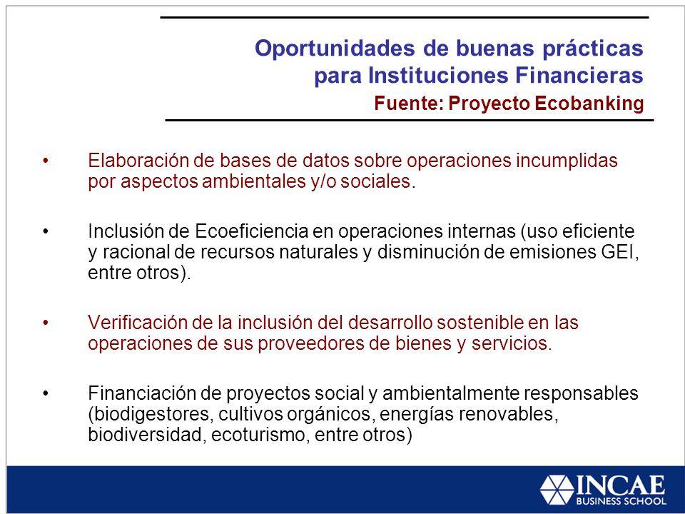 Oportunidades de buenas prácticas para Instituciones Financieras Fuente: Proyecto Ecobanking Elaboración de bases de datos sobre operaciones incumplidas por aspectos ambientales y/o sociales.