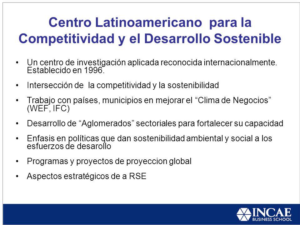 Centro Latinoamericano para la Competitividad y el Desarrollo Sostenible Un centro de investigación aplicada reconocida internacionalmente.