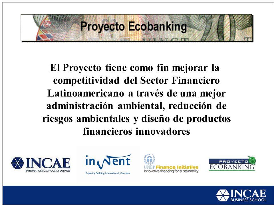 El Proyecto tiene como fin mejorar la competitividad del Sector Financiero Latinoamericano a través de una mejor administración ambiental, reducción de riesgos ambientales y diseño de productos financieros innovadores