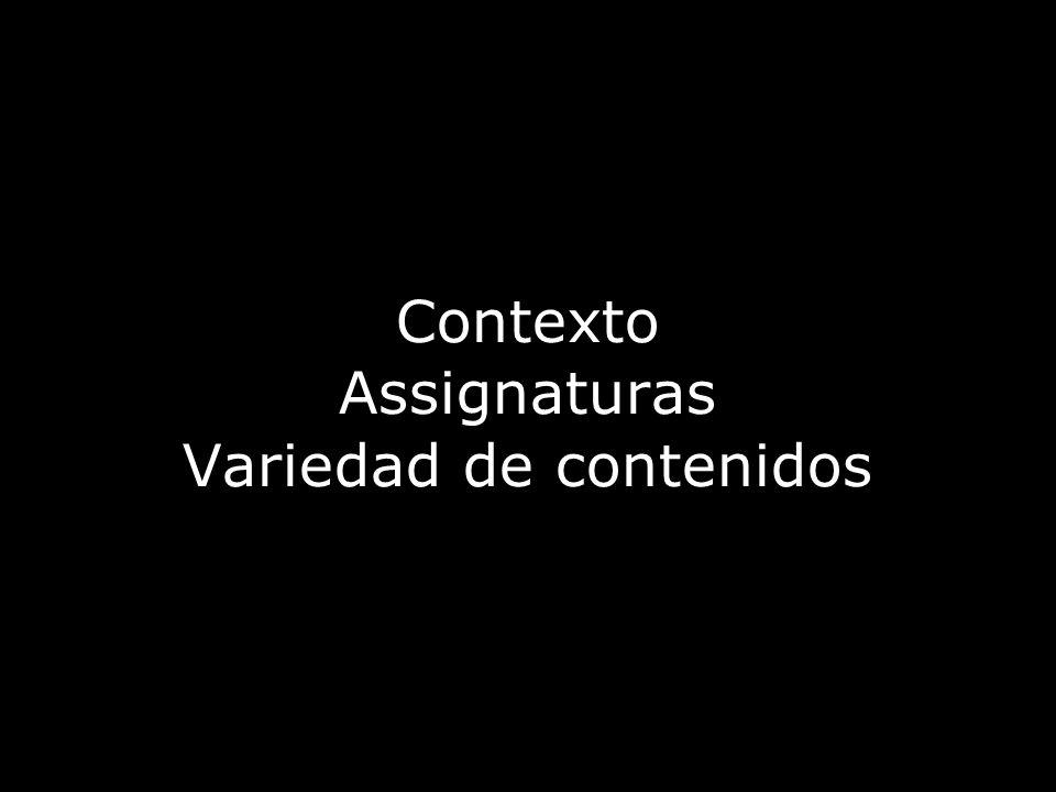 Contexto Assignaturas Variedad de contenidos