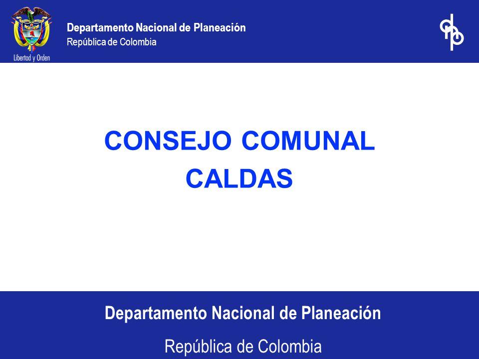 Departamento Nacional de Planeación República de Colombia 1.Inversión Histórica 2.Proyección de Inversión 2004-2006 3.Proyección de Inversión 2004 4.Eficiencia en el Gasto Social 5.Evaluación del Desempeño Fiscal Territorial 2000 – 2003 Contenido
