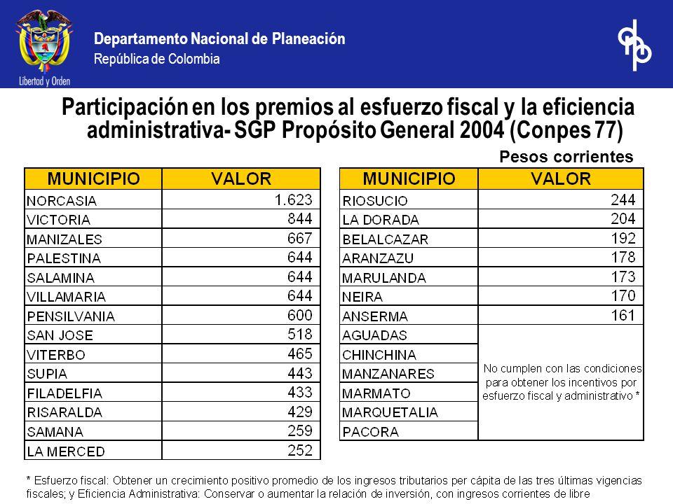 Departamento Nacional de Planeación República de Colombia Pesos corrientes Participación en los premios al esfuerzo fiscal y la eficiencia administrativa- SGP Propósito General 2004 (Conpes 77)