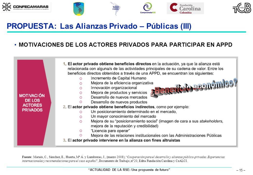 ACTUALIDAD DE LA RSE: Una propuesta de futuro – 15 – PROPUESTA: Las Alianzas Privado – Públicas (III) MOTIVACIONES DE LOS ACTORES PRIVADOS PARA PARTIC