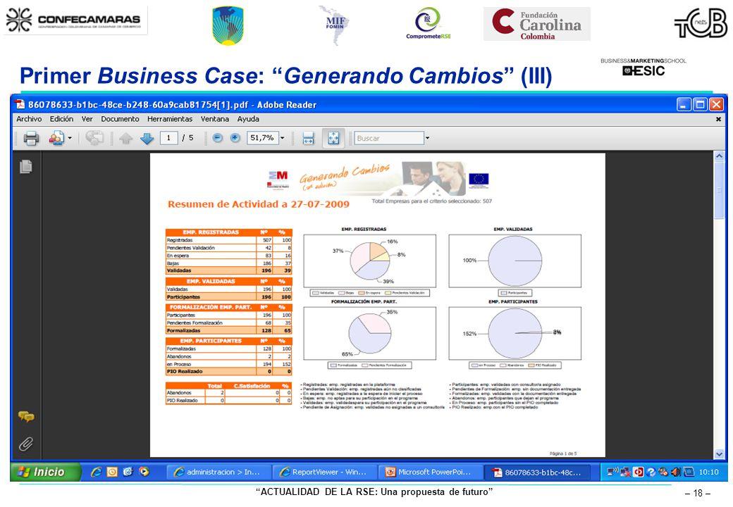 ACTUALIDAD DE LA RSE: Una propuesta de futuro – 18 – Primer Business Case: Generando Cambios (III)