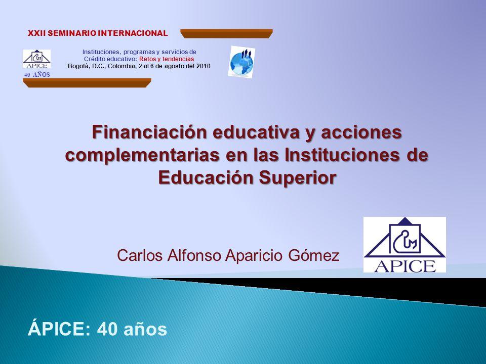 Instituciones, programas y servicios de Crédito educativo: Retos y tendencias Bogotá, D.C., Colombia, 2 al 6 de agosto del 2010 XXII SEMINARIO INTERNA