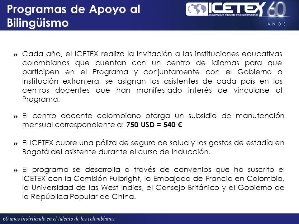 Programas de Apoyo al Bilingüismo Proyectado 380 El centro docente colombiano otorga un subsidio de manutención mensual correspondiente a: 750 USD = 540 El ICETEX cubre una póliza de seguro de salud y los gastos de estadía en Bogotá del asistente durante el curso de inducción.