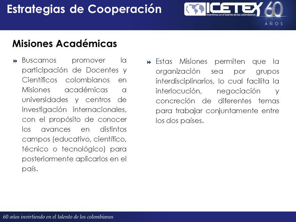 Estrategias de Cooperación Proyectado 380 Buscamos promover la participación de Docentes y Científicos colombianos en Misiones académicas a universidades y centros de investigación internacionales, con el propósito de conocer los avances en distintos campos (educativo, científico, técnico o tecnológico) para posteriormente aplicarlos en el país.