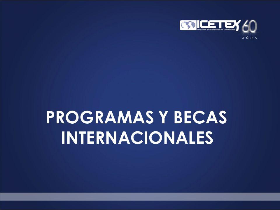 Cobertura geográfica del Programa Internacional ICETEX ha desarrollado cooperación educativa en materia de becas con: 54 Gobiernos alrededor del mundo.