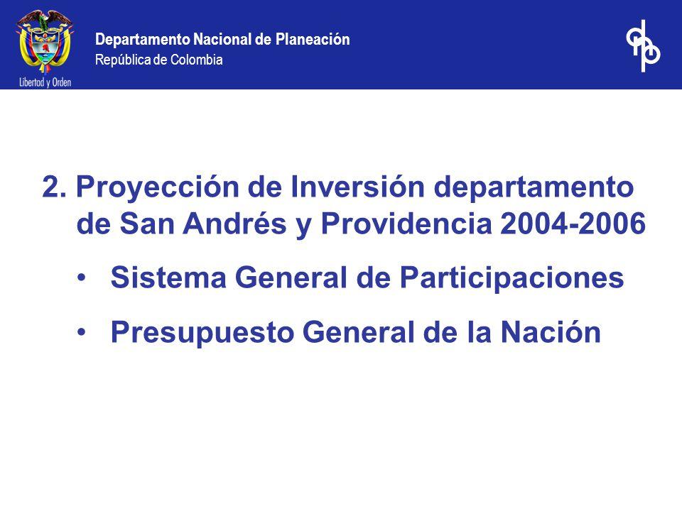 2. Proyección de Inversión departamento de San Andrés y Providencia 2004-2006 Sistema General de Participaciones Presupuesto General de la Nación