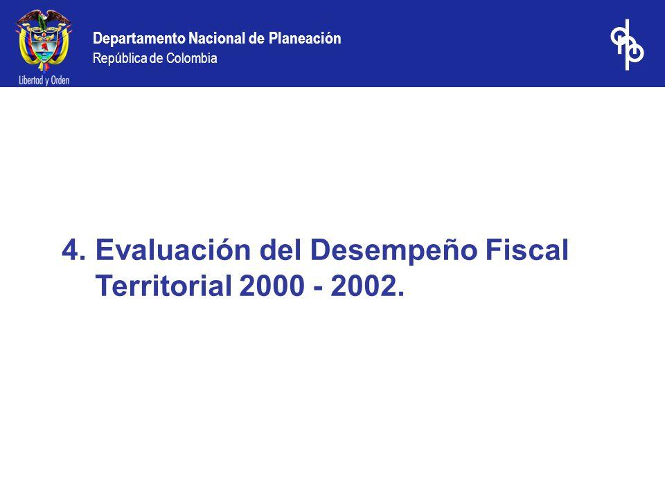 Departamento Nacional de Planeación República de Colombia 4.Evaluación del Desempeño Fiscal Territorial 2000 - 2002.