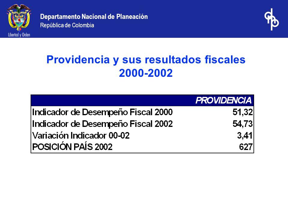 Departamento Nacional de Planeación República de Colombia Providencia y sus resultados fiscales 2000-2002