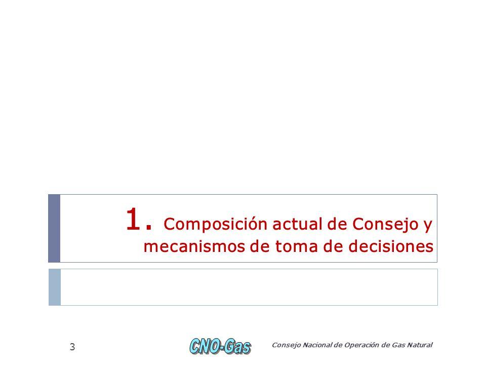 Miembros del Consejo Un (1) representante del Minminas, quien lo preside; Cuatro (4) representantes de productoras (uno (1) por cada 25% de la producción total de gas del país) ; Cuatro (4) representantes de los remitentes (uno (1) por cada 25% de la demanda total del país; dos (2) de ellos son representantes del sector termoeléctrico); Un (1) representante del CND; Los representantes de los sistemas de transporte de gas natural que tengan capacidad superior a 50 MPCD.