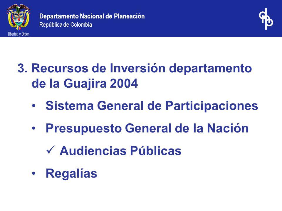 3. Recursos de Inversión departamento de la Guajira 2004 Sistema General de Participaciones Presupuesto General de la Nación Audiencias Públicas Regal