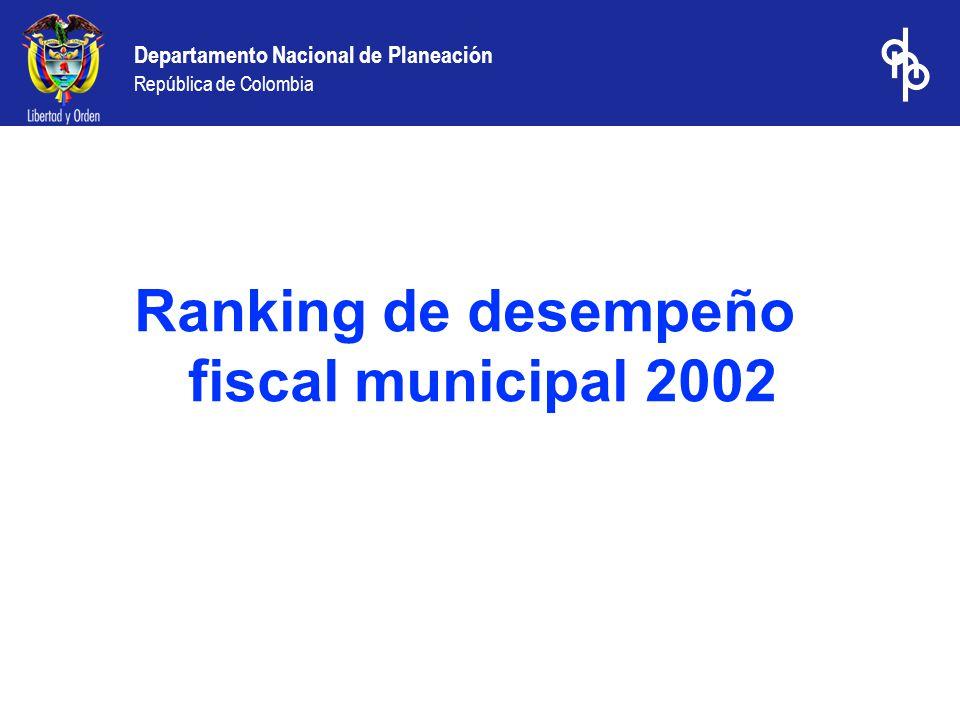 Departamento Nacional de Planeación República de Colombia Ranking de desempeño fiscal municipal 2002