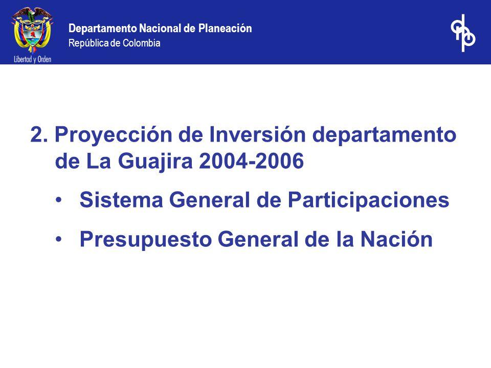 2. Proyección de Inversión departamento de La Guajira 2004-2006 Sistema General de Participaciones Presupuesto General de la Nación