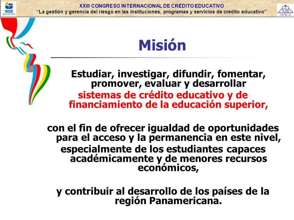 XXIII CONGRESO INTERNACIONAL DE CRÉDITO EDUCATIVO La gestión y gerencia del riesgo en las instituciones, programas y servicios de crédito educativo Mi