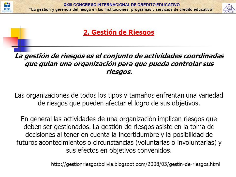 XXIII CONGRESO INTERNACIONAL DE CRÉDITO EDUCATIVO La gestión y gerencia del riesgo en las instituciones, programas y servicios de crédito educativo 2.