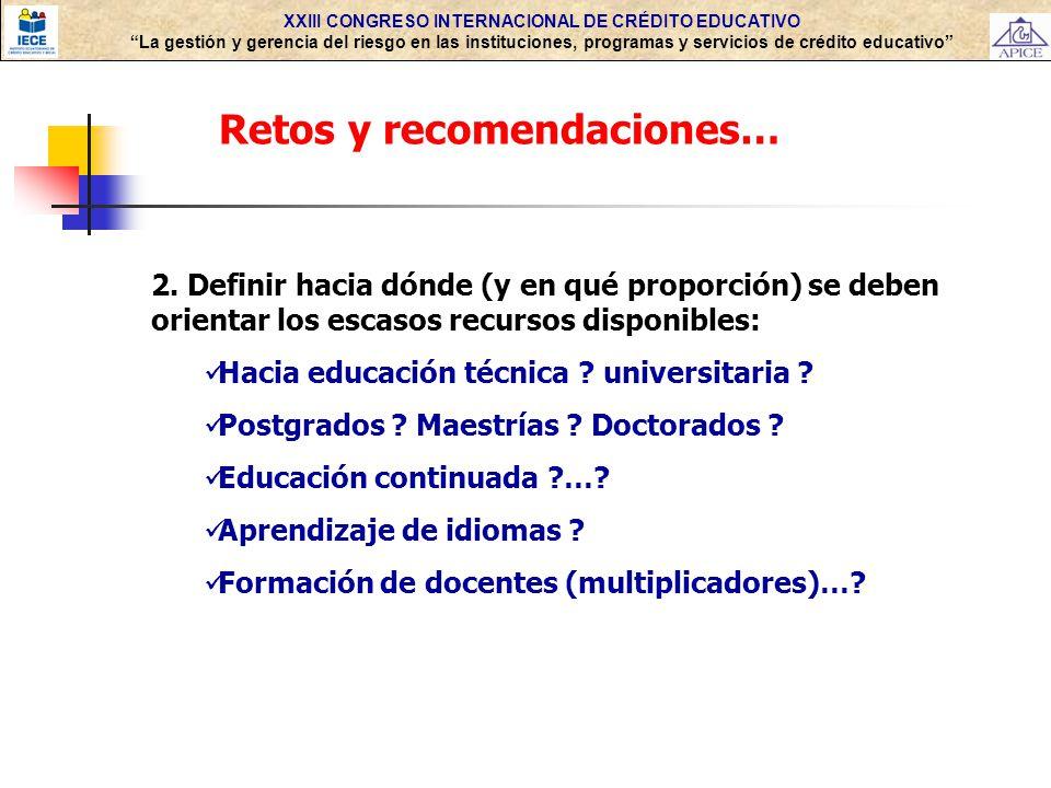 XXIII CONGRESO INTERNACIONAL DE CRÉDITO EDUCATIVO La gestión y gerencia del riesgo en las instituciones, programas y servicios de crédito educativo Retos y recomendaciones… 2.