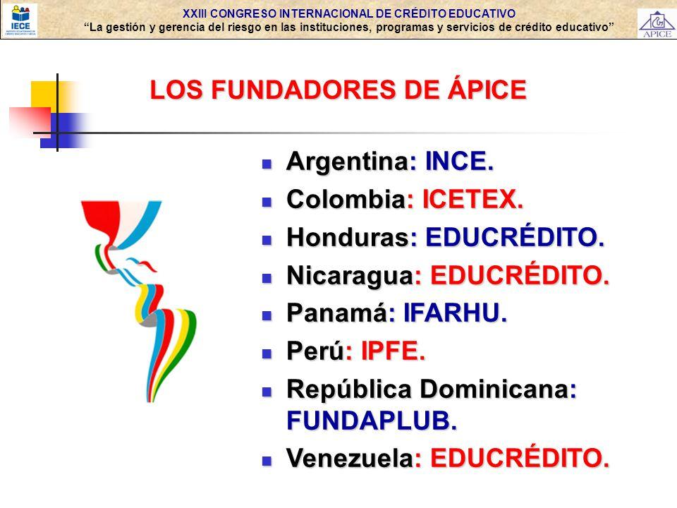 XXIII CONGRESO INTERNACIONAL DE CRÉDITO EDUCATIVO La gestión y gerencia del riesgo en las instituciones, programas y servicios de crédito educativo LOS FUNDADORES DE ÁPICE Argentina: INCE.