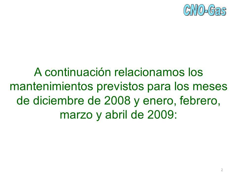 A continuación relacionamos los mantenimientos previstos para los meses de diciembre de 2008 y enero, febrero, marzo y abril de 2009: 2