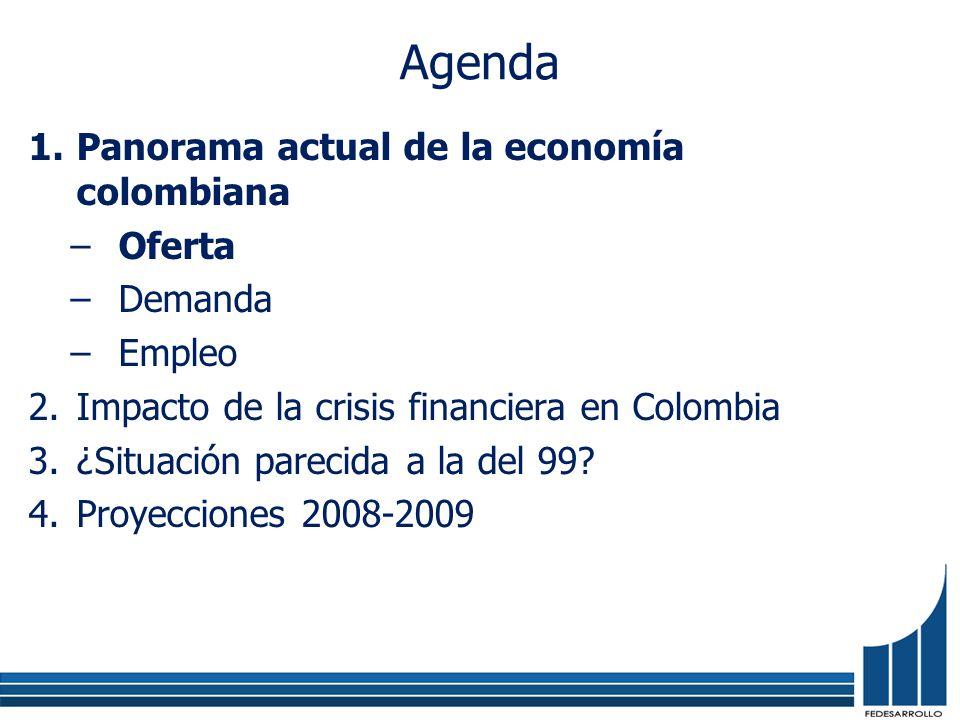 Agenda 1.Panorama actual de la economía colombiana –Oferta –Demanda –Empleo 2.Impacto de la crisis financiera en Colombia 3.¿Situación parecida a la d