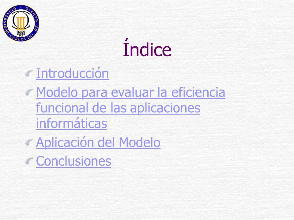 Índice Introducción Modelo para evaluar la eficiencia funcional de las aplicaciones informáticas Aplicación del Modelo Conclusiones